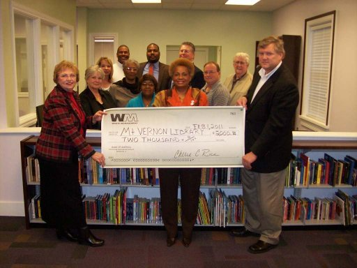 Waste Management of South Alabama donated $2,000 to THE FRIENDS OF THE MT. VERNON LIBRARY